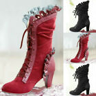 High Heel Boots Steampunk Women Sexy Leather Suede Lace Up Cosplay Boots