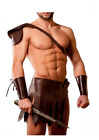 Mens Real Cowhide Leather Brown Roman Gladiator Kilt Set with Gauntlets LARP