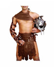 Mens Real Cowhide Leather Brown Roman Gladiator Kilt Set Halloween Costume LARP
