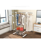 Double Adjustable Heavy Duty Clothes Hanger Rolling Rail Garment Rack Shoe Rack