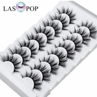 LASPOP 8 Pairs 3D Mink Natural Bushy Cross Fake False Eyelashes Hair Eye Lashes