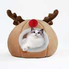 Christmas Pet House Cave Fleece Padded Bed Dog Puppy Cat Bed Igloo Warm Kennel