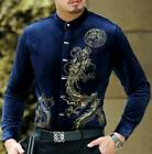 Vogue Men Chinese Style Dress Formal Shirt Party Long Sleeve Stand Collar 2020