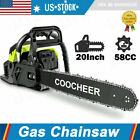 COOCHEER 62CC 20 Gas Chainsaw Handed Petrol Chain Woodcutting 2 Cycle 4HP e 248