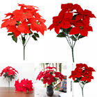 Artificial Poinsettia Flower Home Office Fake Christmas Flower Party Event Decor
