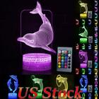 Remote 3D LED Night Light Dolphin 7/16 Color LED Table Desk Lamp Xmas Decor Gift