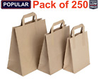 Paper Bags Brown SOS Carrier Bags With Flat Handle Recycled S/M/L - Pack of 250+