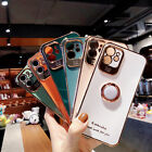 For iPhone 12 Pro Max 11 XS X XR 7 8 SE Plating TPU Soft Case Ring Holder Cover
