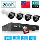 Zoohi Home Video Security Camera System 2MP AHD Outdoor 4CH/8CH DVR 1TB DayNight