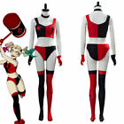 2019 Harley Quinn Cosplay Costume Outfit Halloween Bra Shorts Glove Suit Uniform