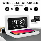 Digital LED Desk Alarm Clock Thermometer Timer Calendar QI Wireless Charger Gift