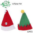 12%C3%97Mini+Santa+Claus+Hats+Lollipop+Christmas+Party+Holiday+Lollypop+Top+Topper+WS