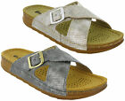 Inblu Sandals Slip On Leather Lined Cross Strap Summer Beach Womens Flats