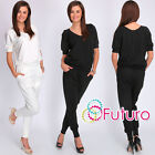 Womens Comfortable Two Piece Set Top With Pants Blouse Trousers Size 8-14 FC2085
