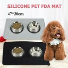 Cat Bowl Mat Dog Pet Feeding Water Food Dish Tray Wipe Easy Clean Floor Placemat