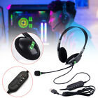 USB Headset Computer Headphone w/ Mic Noise Cancelling For Call Center PC Laptop