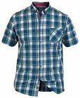 D555 Men's Henry Short Sleeve Cotton Check Shirt Shirts Top Medium / Chest 38-40