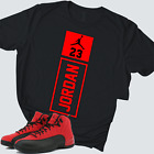 Jordan 23 Jumpman Tee Shirt to match Air Jordan 12 Reverse Flu Game Red & Black
