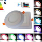 Dual Color RGB LED Ceiling Panel Light Recessed Downlight Spot Lamp 6W 9W 16W 24