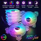 3/6 PACK RGB LED Quiet Computer Case PC Cooling Fan 120mm With Remote Control C
