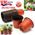 20/50/100pcs Nursery Pots Seedling Flower Plant Plastic Pot Home Garden Decor Uk