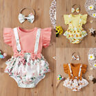 2Pcs Newborn Baby Girls Summer Clothes Outfits Tops Floral Jumpsuit Shorts Set