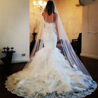 White ivory Cathedral Length 1Layer Extra Long Lace Wedding Bridal Veil Comb