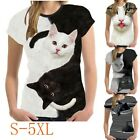 Womens Casual 3D Cat Printed Blouse T-Shirt Short Sleeve O-neck T Shirts Blouse