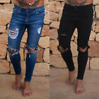 Mens Skinny Jeans Ripped Frayed Stretch Slim Fit Denim Distressed Pants Trousers
