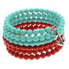 Anchor Charm Memory Wire Bracelet -Turq/Red - Exclusive Beadaholique Jewelry Kit