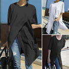 Womens Summer Shirts Crew Neck Tunic Tops Holiday Party Tee Loose Casual Blouse