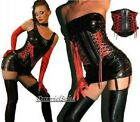 Black Vinyl Waist Cincher Red Ribbon Detail Wet Look Waspie Sizes S-2X NWT V225