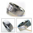 8MM MEN'S TUNGSTEN CARBIDE CROSS WEDDING BAND RING
