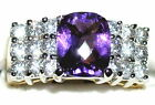 Woman's African Amethyst & White Topaz Ring  54509