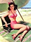 Pin Up Girl High & Dry Beach Quilt Block Multi Sizes
