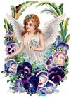 Angel Spray Pansies Fabric Quilt Block Multi Sizes FrEE ShiPPinG WoRld WiDE