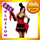 E61 MOULIN ROUGE BURLESQUE Ladies SALOON GIRL Can Can Fancy Dress Costume + Hat