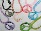 """Multi-Strand Glass Seed Bead Shell Charm Peace Sign Necklace 20"""""""