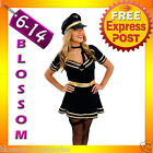 E38 Ladies Pilot Air Hostess Flight Attendant Fancy Dress Costume Outfit + Hat