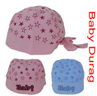 NEW BORN BABY KIDS HAT COTTON  DURAG STAR HEAD WRAP SCARF GIRL BOY PINK OR BLUE