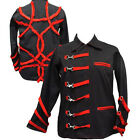 Dark Star Black Military Red Tribal Pattern & Clips Coat Jacket S/M M/L