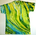 Marble Lime Blue Tie Dye T-Shirts Size Youth to Adult XL. Gildan, Multi-Color,