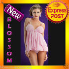 BB31 Sexy Pink Babydoll Baby Doll Nightie Slip Chemise Plus Lingerie + G-String