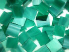 TROPICAL TEAL handcut stained glass mosaic tiles, 8 sizes choices, #1
