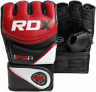 Authentic RDX Leather Gel Tech MMA UFC Grappling Gloves Fight Boxing Punch Bag N