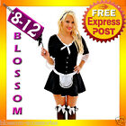 F53 French Maid Ladies Uniform Outfit Fancy Dress Halloween Party Hens Costume