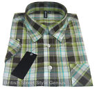 Classic Skinhead / Mod Check Shirt Green 60s Button Down Long Collar Relco NEW