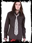 Queen Of Darkness Black White Pinstripe Skull Button Down Long Sleeved Shirt