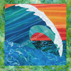 OCEAN WAVE Sunset Surf Surfing~Batik Fabric Quilt Panel Block~ Dolphins in Water