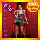CC34 Polka Dots Burlesque Showgirl Hens Party Dress Costume Corset